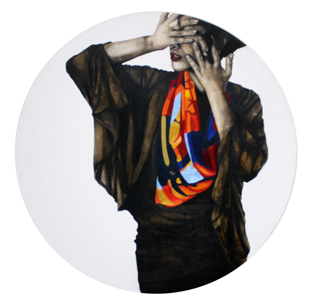 Sutra Djarot Diameter 100cm media coffee ink & nylon yarn on canvas