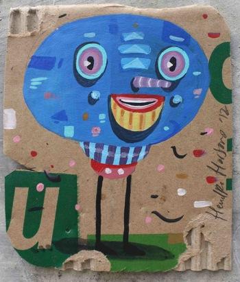 blue head-acrylic on used cardboard-10x5x12,5cm-2012s