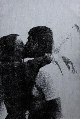 erik-pauhrizi-eating-speaking-kissing-speaking-media-Embroidery-on-canvas-size-190-x-130-cm-2010