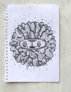 mr bloom mustache-ink on paper-2012