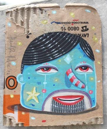 mr.shiny-acrylic on used cardboard-10x5x12,5cm-2012s