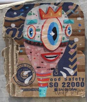 the eyes-acrylic on used cardboard-10x5x12,5cm-2012s
